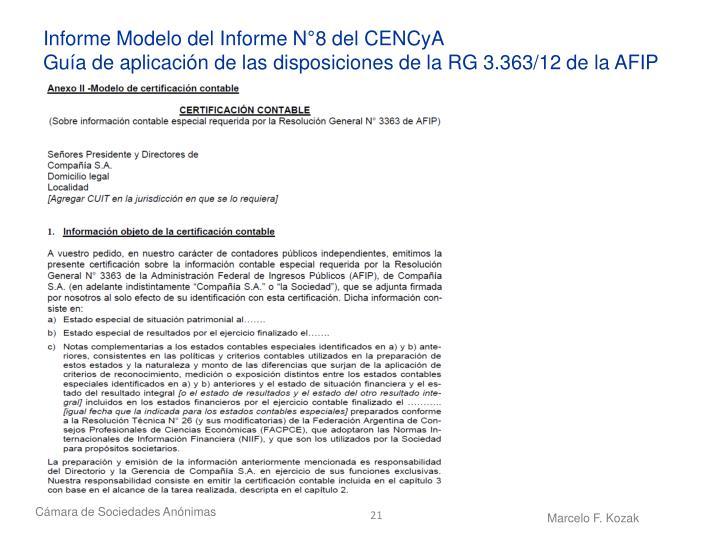 Informe Modelo del Informe N°8 del CENCyA