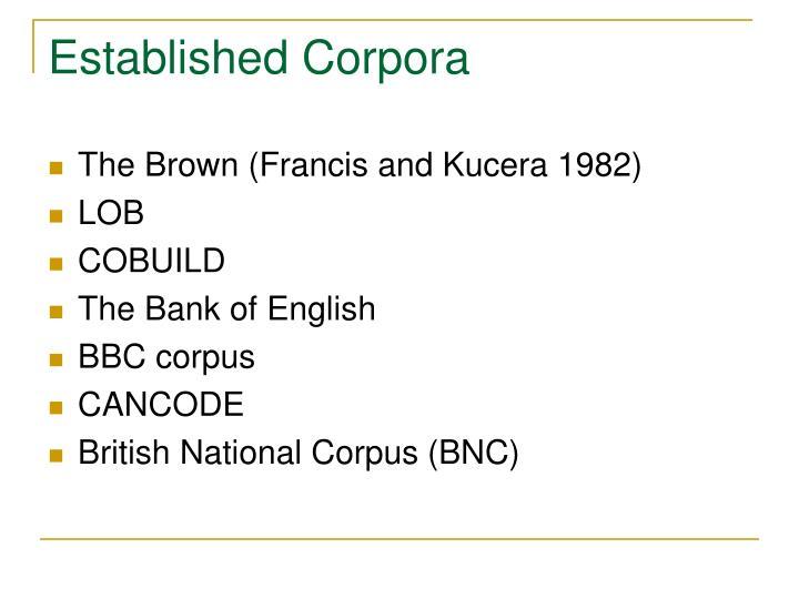 Established Corpora
