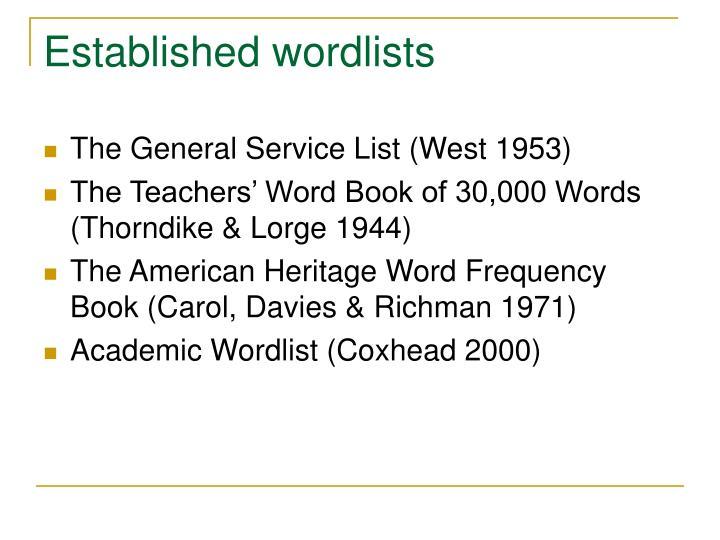 Established wordlists