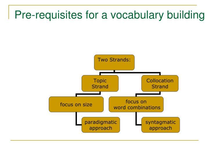 Pre-requisites for a vocabulary building