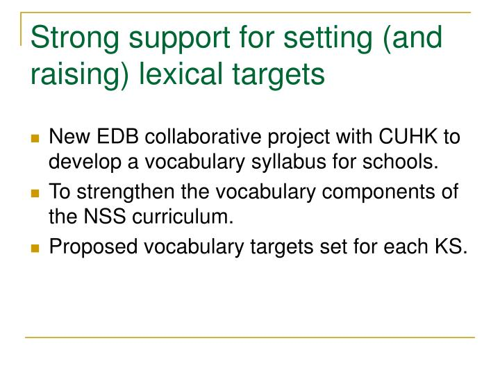 Strong support for setting (and raising) lexical targets