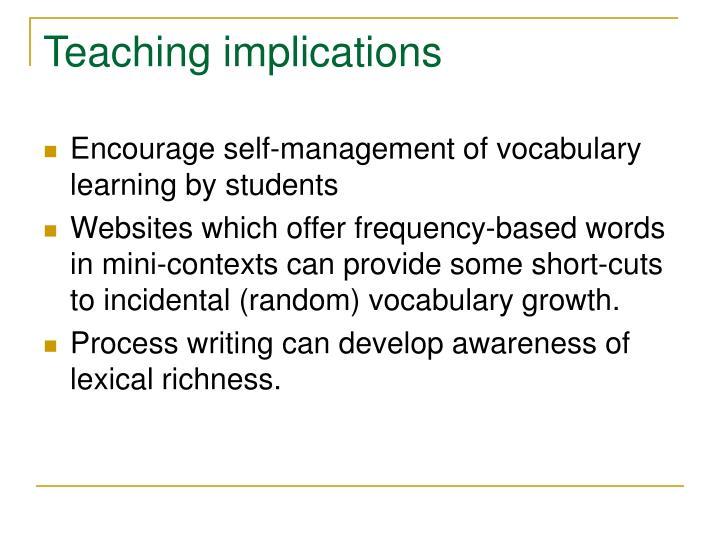 Teaching implications