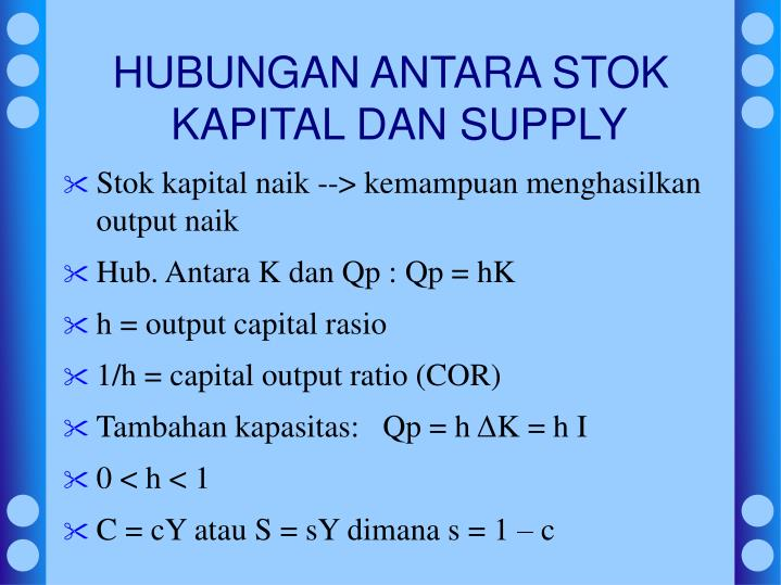 HUBUNGAN ANTARA STOK KAPITAL DAN SUPPLY