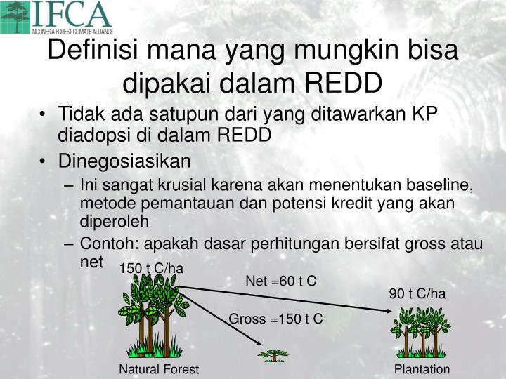Definisi mana yang mungkin bisa dipakai dalam REDD