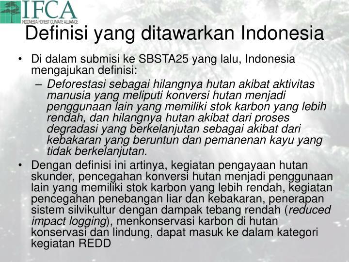 Definisi yang ditawarkan Indonesia