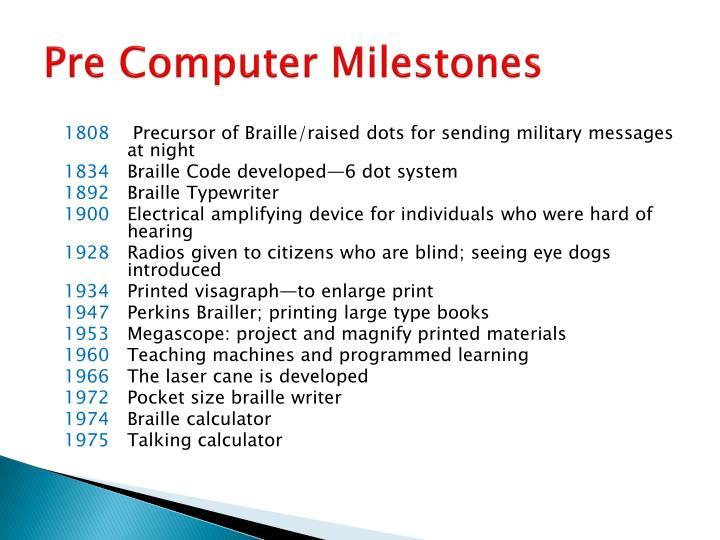 Pre Computer Milestones