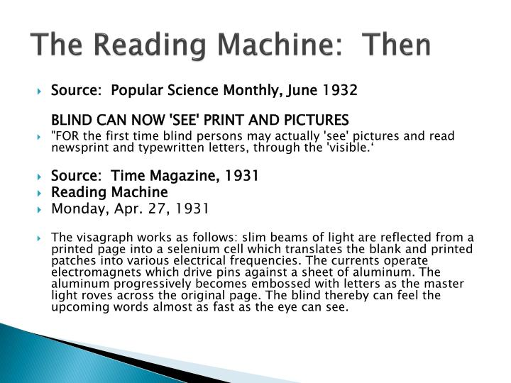 The Reading Machine:  Then