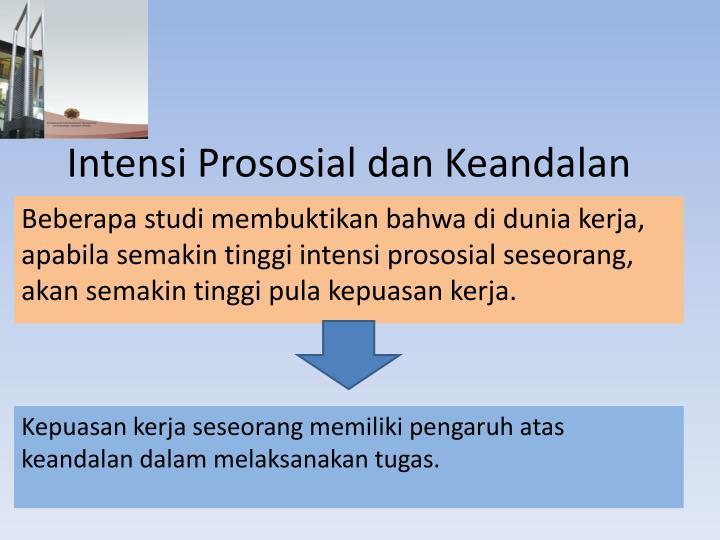 Intensi Prososial dan Keandalan