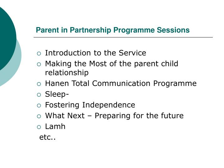 Parent in Partnership Programme Sessions
