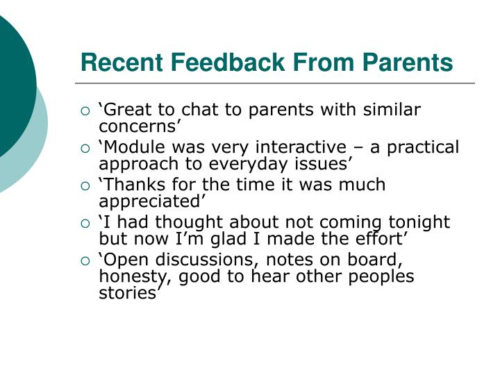 Recent Feedback From Parents