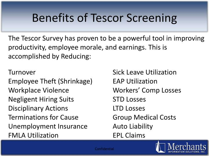 Benefits of Tescor Screening