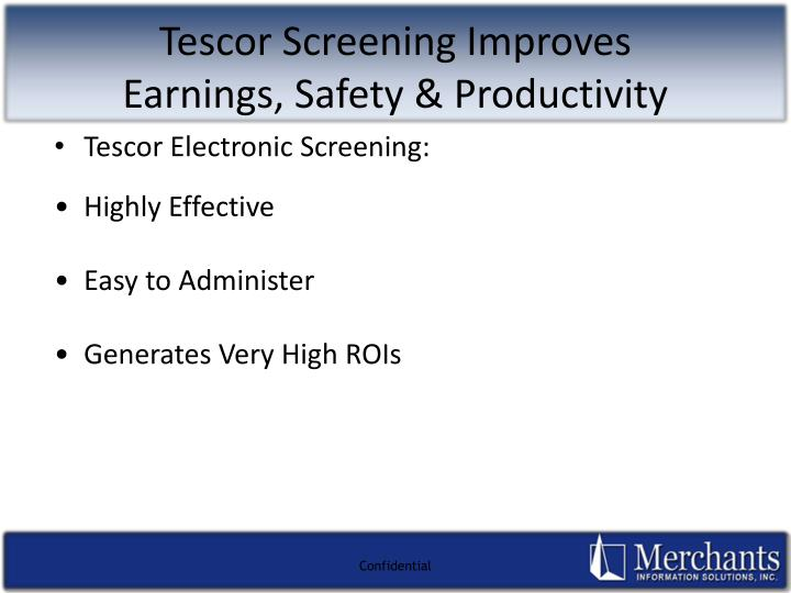 Tescor Electronic Screening: