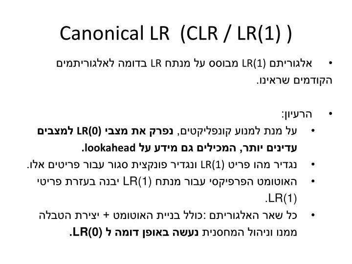Canonical LR  (CLR / LR(1) )