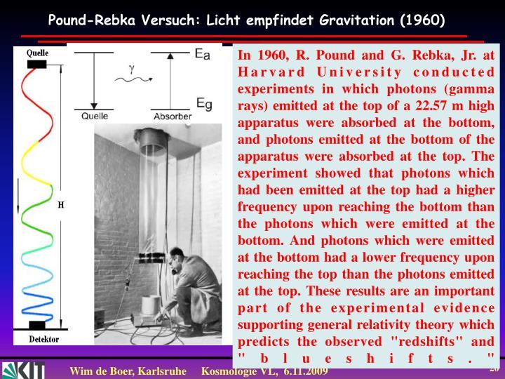 Pound-Rebka Versuch: Licht empfindet Gravitation (1960)