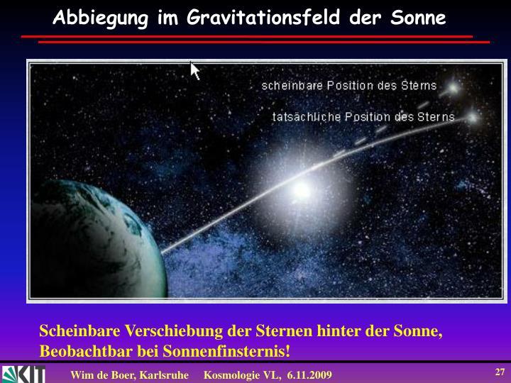 Abbiegung im Gravitationsfeld der Sonne