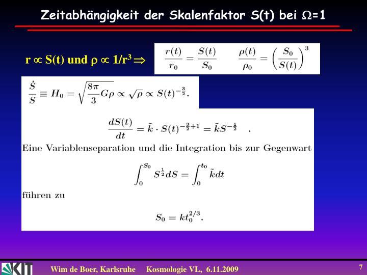 Zeitabhängigkeit der Skalenfaktor S(t) bei