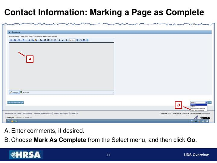Contact Information: Marking a Page as Complete