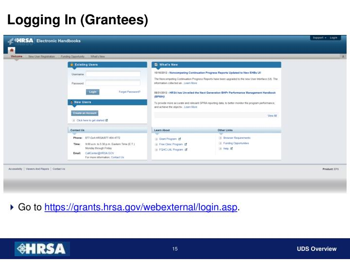 Logging In (Grantees)
