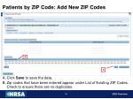 patients by zip code add new zip codes2