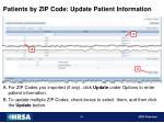 patients by zip code update patient information