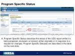 program specific status
