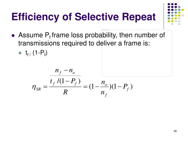 Efficiency of Selective Repeat