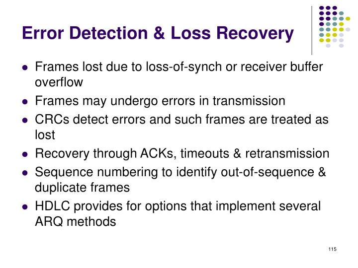 Error Detection & Loss Recovery