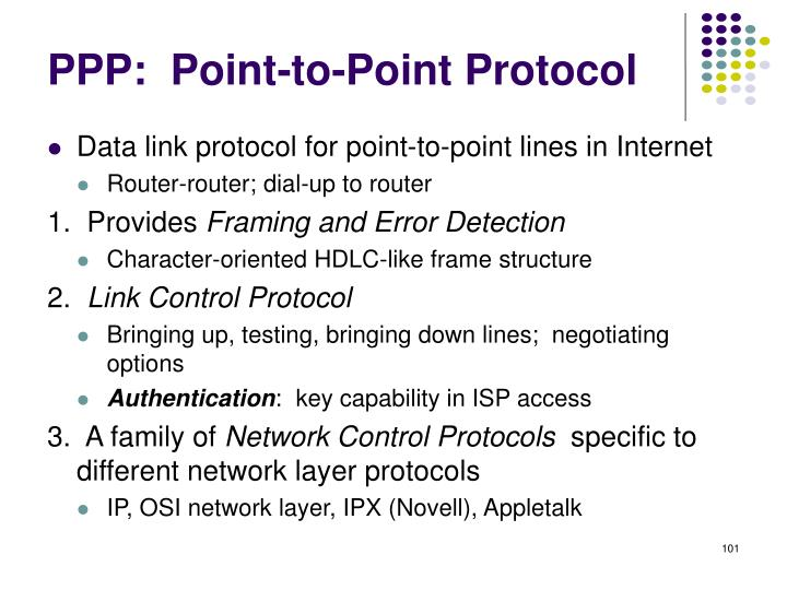 PPP:  Point-to-Point Protocol