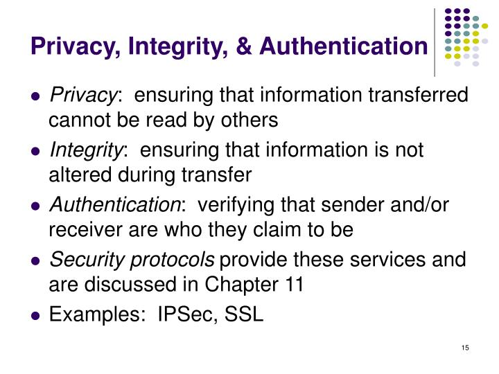 Privacy, Integrity, & Authentication