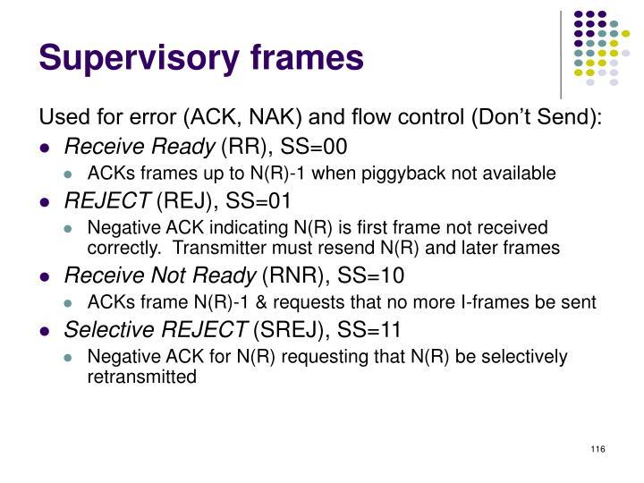 Supervisory frames