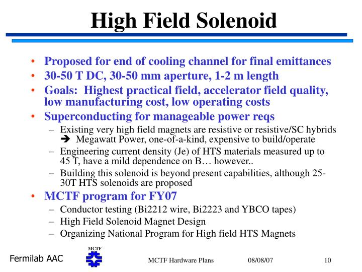 High Field Solenoid