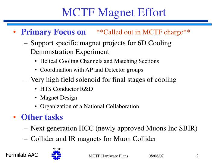 Mctf magnet effort