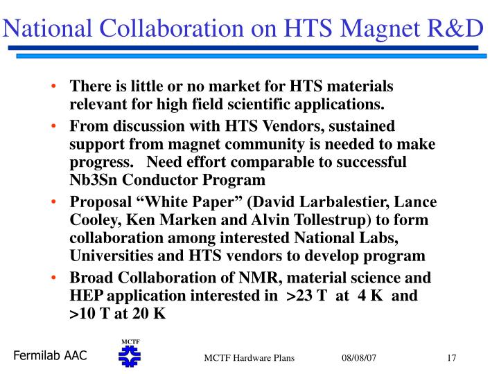National Collaboration on HTS Magnet R&D