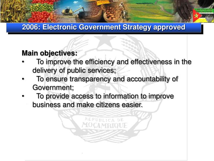 2006: Electronic Government Strategy approved