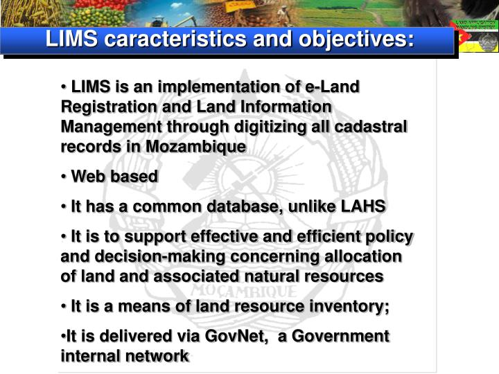 LIMS caracteristics and objectives: