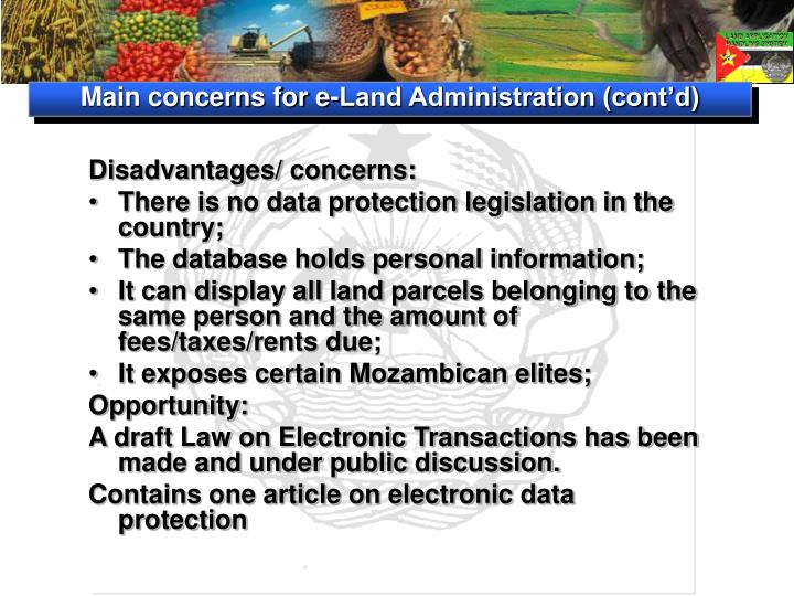 Main concerns for e-Land Administration (cont'd)