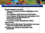 main concerns for e land administration cont d