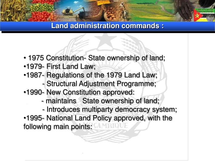 Land administration commands :