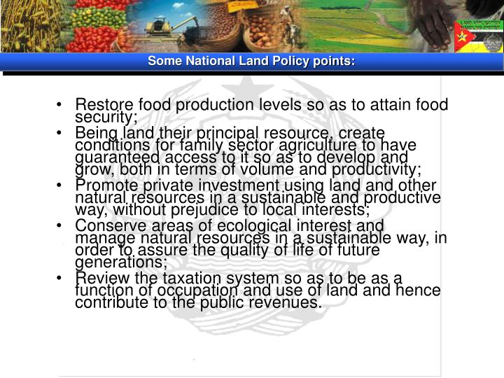 Some National Land Policy points: