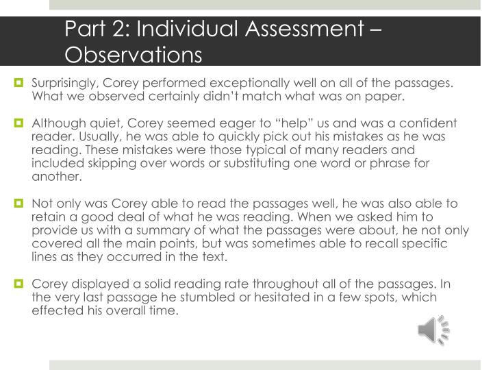 Part 2: Individual Assessment –Observations