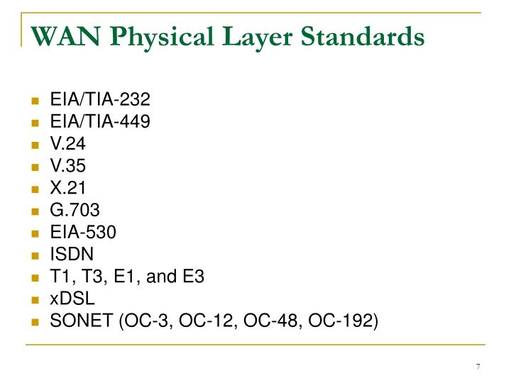 WAN Physical Layer Standards