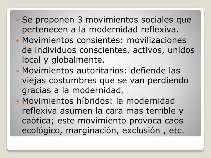 Se proponen 3 movimientos sociales que pertenecen a la modernidad reflexiva.