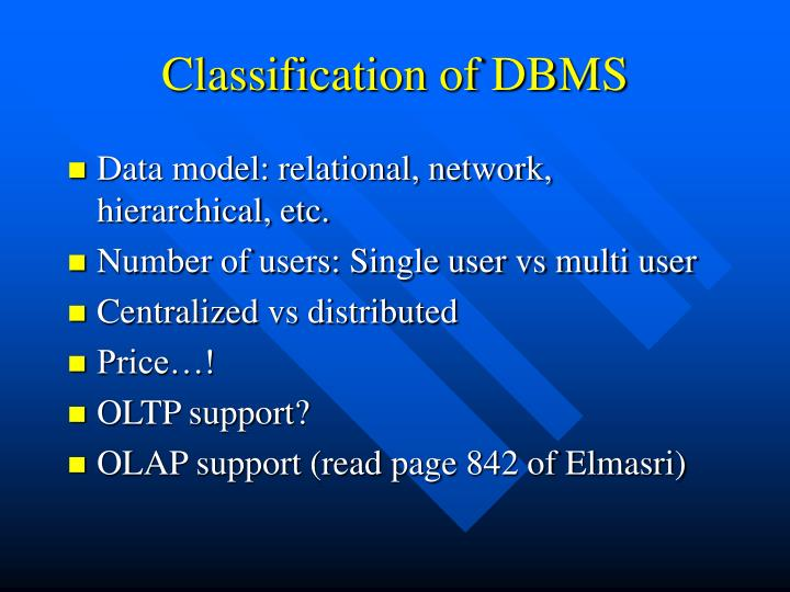 Classification of DBMS