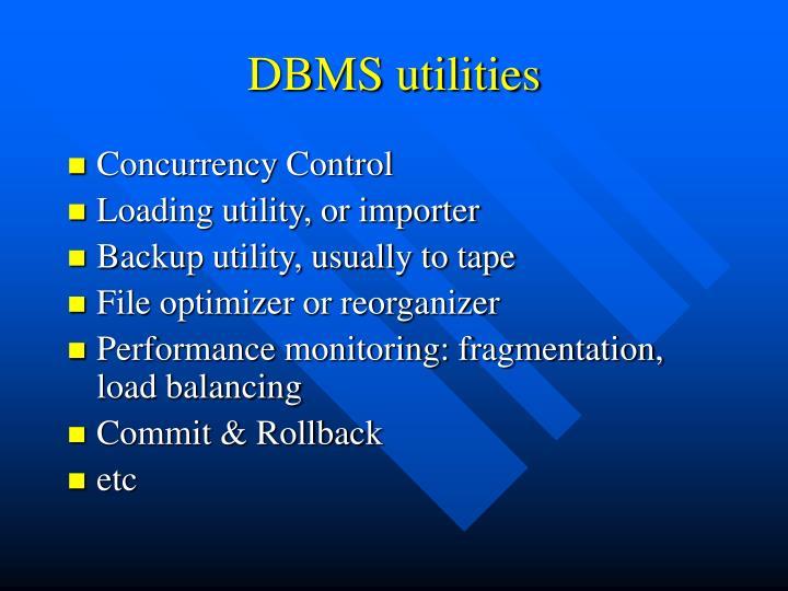 DBMS utilities