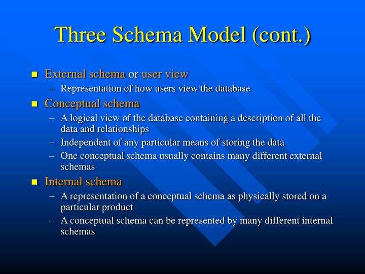 Three Schema Model (cont.)