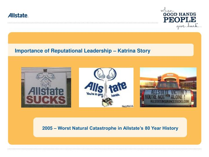 Importance of Reputational Leadership – Katrina Story