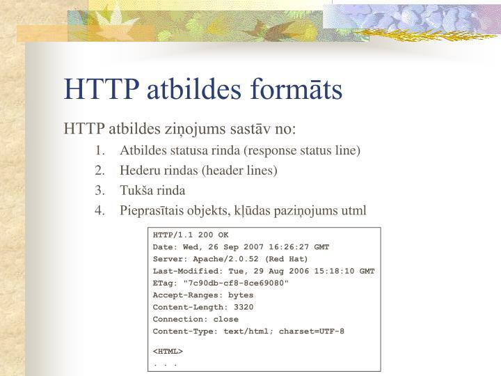 HTTP atbildes formāts