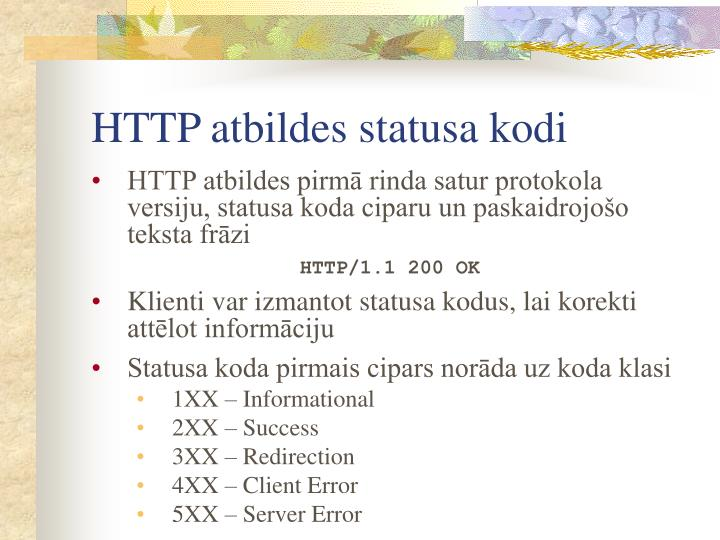HTTP atbildes statusa kodi