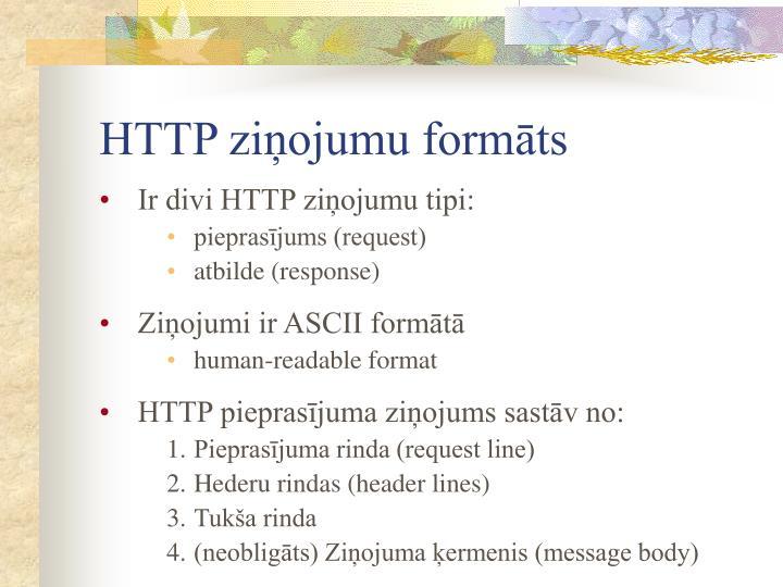 HTTP ziņojumu formāts