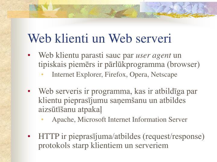 Web klienti un Web serveri